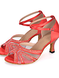 cheap -Women's Latin Shoes Sandal Heel Sneaker Flared Heel Elastic Fabric Rhinestone Buckle Animal Print Black / Red / Purple / Performance / Leather / Salsa Shoes / EU40
