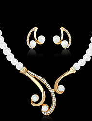 cheap -Women's Pearl Jewelry Set Necklace / Earrings Ladies Luxury Elegant Pearl Imitation Pearl Rhinestone Earrings Jewelry White For Wedding Party / Gold Plated / Imitation Diamond