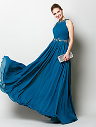 cheap -Sheath / Column Elegant Minimalist Prom Formal Evening Dress Jewel Neck Sleeveless Floor Length Chiffon with Beading Draping Appliques 2020