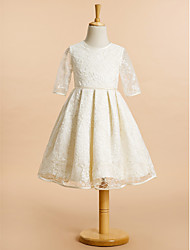 cheap -A-Line Knee Length Wedding / First Communion Flower Girl Dresses - Lace Half Sleeve Jewel Neck with Lace