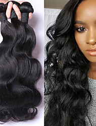 cheap -3pcs lot 100 malaysian virgin hair body wave human hair extensions natural black hair weaves