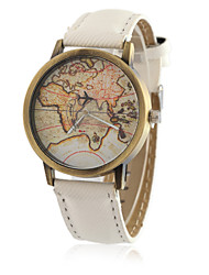 cheap -Men's Wrist Watch World Map Quartz Classic Casual Watch Analog White Black Yellow / One Year / Quilted PU Leather / Tianqiu 377