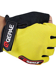 cheap -QEPAE Bike Gloves / Cycling Gloves Mountain Bike MTB Breathable Anti-Slip Sweat-wicking Protective Fingerless Gloves Half Finger Sports Gloves Leather Lycra Terry Cloth Black Yellow Red for Adults'