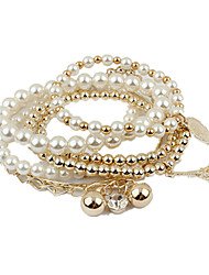 cheap -Pearl Bead Bracelet Vintage Party Work Casual Beaded Gemstone & Crystal Bracelet Jewelry White For Party / Rhinestone
