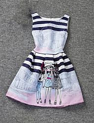 cheap -Kids Girls' Cartoon Sleeveless Dress Pink