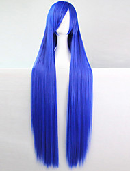 cheap -anime cosplay wig blue 100 cm long straight hair high temperature wire Halloween