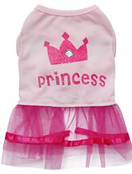 cheap -Cat Dog Dress Dog Clothes Pink Costume Cotton Tiaras & Crowns Fashion XS S M L