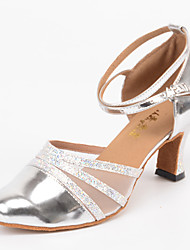 cheap -Women's Modern Shoes / Ballroom Shoes Leatherette Buckle Sandal / Heel Buckle Customized Heel Customizable Dance Shoes Silver / Indoor