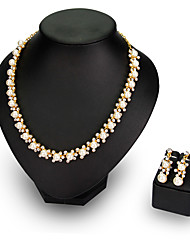 cheap -Pearl Jewelry Set Statement Party Work Pearl Rhinestone Earrings Jewelry White For Party 1 set / Necklace