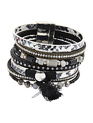 cheap -Women's Leather Bracelet Beaded Luxury Unique Design Fashion Leather Bracelet Jewelry Black / Brown For Wedding Party Daily Casual Sports / Imitation Diamond / Rhinestone