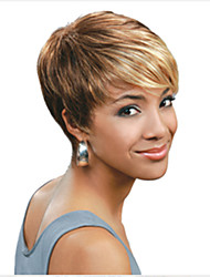 cheap -Synthetic Wig Straight Straight Pixie Cut With Bangs Wig Blonde Short Mixed Color Synthetic Hair 6 inch Women's Highlighted / Balayage Hair Blonde Multi-color hairjoy