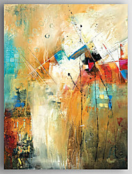 cheap -Oil Painting Hand Painted - Abstract Modern Stretched Canvas / Rolled Canvas