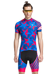 cheap -TASDAN Men's Short Sleeve Cycling Jersey with Shorts Blue Bike Shorts Jersey Clothing Suit Breathable 3D Pad Quick Dry Reflective Strips Back Pocket Sports Stars Mountain Bike MTB Road Bike Cycling