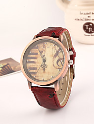 cheap -Women's Wrist Watch Quartz Quilted PU Leather Black / Red / Brown Hot Sale Analog Ladies Vintage Fashion Dress Watch - Black Brown Red