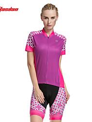 cheap -TASDAN Women's Short Sleeve Cycling Jersey with Shorts Black Light Grey Pink Dots Bike Shorts Jersey Padded Shorts / Chamois Breathable 3D Pad Quick Dry Reflective Strips Back Pocket Sports Dots
