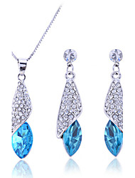 cheap -Women's Cubic Zirconia tiny diamond Jewelry Set Drop Earrings Pendant Necklace Solitaire Marquise Cut Drop Ladies Fashion Elegant Bridal everyday Sterling Silver Zircon Rhinestone Earrings Jewelry