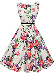 cheap -Women's Floral Going out Vintage A Line Dress - Floral White, Print Summer White L XL XXL