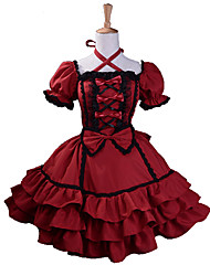 cheap -Princess Gothic Lolita Dress Women's Girls' Cotton Japanese Cosplay Costumes Plus Size Customized Red Ball Gown Patchwork Puff / Balloon Sleeve Short Sleeve Mini