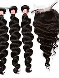 Недорогие -Монгольские волосы Свободные волны 300 g Волосы Уток с закрытием Ткет человеческих волос Расширения человеческих волос