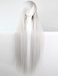 cheap -anime cosplay wig silver white 100 cm long straight hair high temperature wire Halloween