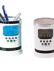 Недорогие -цифровой ЖК стол будильник сетка ручки контейнеродержатель календарное время темп подарок