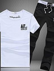 cheap -Men's Sports Short Sleeve Activewear Set - Letter White L