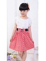 cheap -Kids Girls' Sweet Daily Polka Dot Bow Ruffle Sleeveless Dress Red