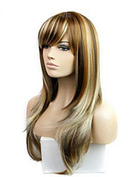 cheap -Cosplay Costume Wig Synthetic Wig Straight kinky Straight kinky straight Straight Asymmetrical Wig Long Medium Auburn Synthetic Hair 24 inch Women's Highlighted / Balayage Hair Brown