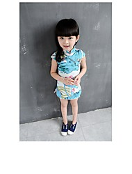 cheap -Princess Fairytale Cosplay Costume Kid's Halloween Carnival Children's Day Festival / Holiday Cotton Carnival Costumes Print