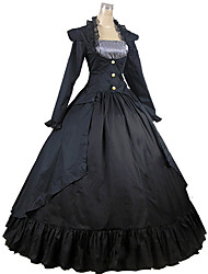 cheap -Victorian Medieval 18th Century Square Neck Dress Party Costume Masquerade Women's Lace Cotton Costume Black Vintage Cosplay Party Prom Long Sleeve Ankle Length Long Length Ball Gown Plus Size