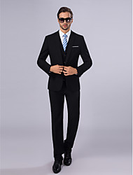 cheap -Black Slim Fit Polyester Suit - Slim Notch Single Breasted One-button