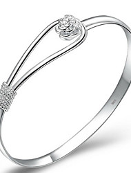 cheap -Women's Bracelet Bangles Cuff Bracelet Flower Ladies Simple Style Elegant Bridal Sterling Silver Bracelet Jewelry Silver For Christmas Gifts Wedding Party Anniversary Daily / Silver Plated