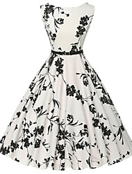 cheap -Women's White Dress Vintage Daily A Line Floral Print S M / Cotton