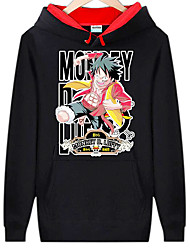 cheap -Inspired by One Piece Monkey D. Luffy Anime Cosplay Costumes Japanese Cosplay Hoodies Print Long Sleeve Top For Men's
