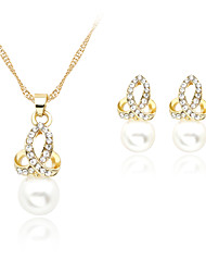 cheap -Women's Pearl Jewelry Set Necklace / Earrings Rose Gold Pearl Imitation Pearl Earrings Jewelry White For Wedding Party Daily / Rose Gold Plated / Rhinestone / Rose Gold Plated
