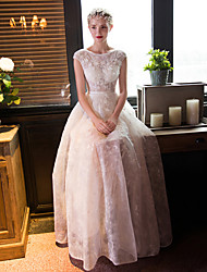 cheap -A-line Wedding Dress Floor-length Scoop Lace with Beading / Crystal / Flower / Lace
