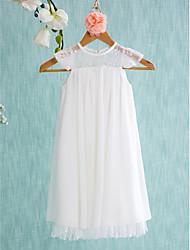 cheap -A-Line Short / Mini Wedding / First Communion / Holiday Flower Girl Dresses - Chiffon Sleeveless Jewel Neck with Lace / Pleats