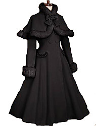 cheap -Princess Sweet Lolita Gothic Lolita Vacation Dress Winter Dress Cape Coat Women's Girls' Wool Velvet Japanese Cosplay Costumes Black Solid Colored Long Sleeve Knee Length / Cloak