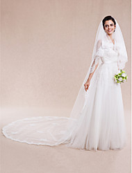 cheap -Two-tier Lace Applique Edge Wedding Veil Cathedral Veils with 157.48 in (400cm) Lace