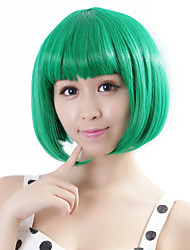 cheap -neitsi 100 kanekalon fiber 14 35cm 160g pc women s girl s cosplay short synthetic bob hair wigs green Halloween