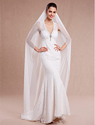cheap -One-tier Cut Edge Wedding Veil Chapel Veils with 78.74 in (200cm) Tulle / Angel cut / Waterfall
