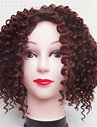 cheap -Synthetic Wig Curly Asymmetrical Wig Short Dark Auburn Synthetic Hair Women's Natural Hairline Brown