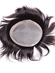 cheap -Men's Human Hair Straight / Classic Monofilament / 100% Hand Tied Daily