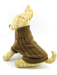 cheap -Cat Dog Sweater Winter Dog Clothes Brown Costume Woolen Solid Colored XS S M L