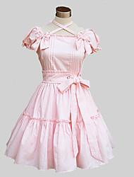 cheap -Princess Sweet Lolita Dress Women's Girls' Cotton Japanese Cosplay Costumes Blue / Pink Solid Colored Butterfly Sleeve Above Knee