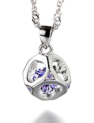 cheap -Women's Pendant Necklace - Sterling Silver, Silver Plated, Silver Birthstones White, Purple Necklace For Party, Daily, Casual