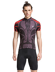 cheap -TASDAN Men's Short Sleeve Cycling Jersey with Shorts Red+Brown Solid Color Bike Shorts Jersey Clothing Suit Breathable 3D Pad Quick Dry Reflective Strips Back Pocket Sports Solid Color Mountain Bike