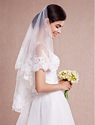 cheap -One-tier Lace Applique Edge Wedding Veil Blusher Veils / Shoulder Veils / Elbow Veils with Appliques Lace / Tulle / Angel cut / Waterfall