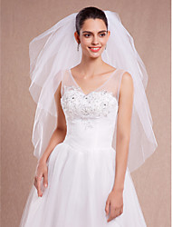 cheap -Three-tier Cut Edge Wedding Veil Fingertip Veils with Ruched Tulle / Oval