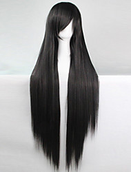 cheap -anime cosplay wig black 100 cm long straight hair high temperature wire Halloween